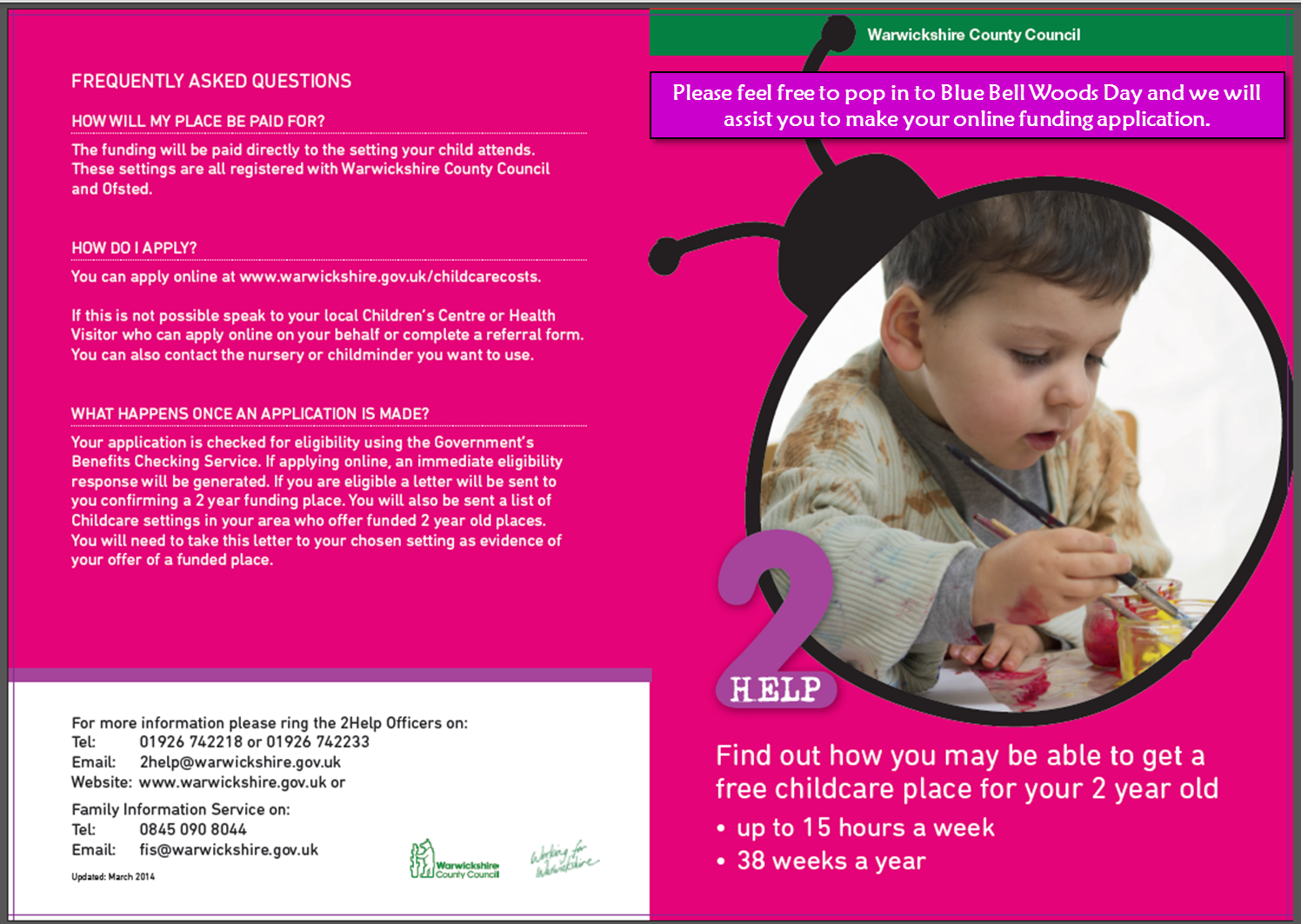 blue bell woods day nursery 2 year old funding
